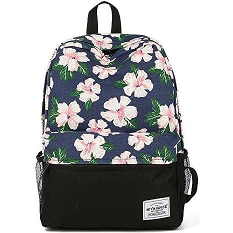 9b7b59e9ee1f Amazon.com  Women floral Canvas Laptop Backpack Cute School College ...
