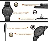 Slim Quartz Watches for Men Simple Stylish Waterproof Leather Mens Watch in Black
