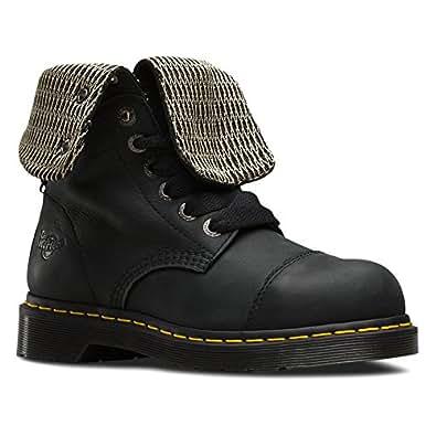 Dr. Martens Women's Leah Steel Toe Work Boots, Black Leather, 3 M UK, 5 M US