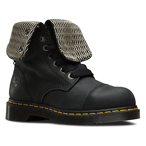Dr. Martens Women's Leah Steel Toe Work Boots, Black Leather, 4 M UK, 6 M US]()