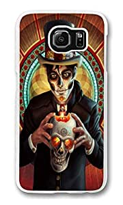 S6 Case, Galaxy S6 Case, Scratch Resistant Hard Bumper Case for Samsung Galaxy S6 Day Of The Dead Man white Hard Case for Samsung Galaxy S6