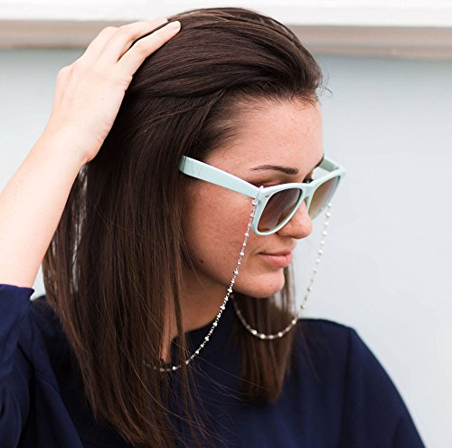 Designer Eyeglass Chains for Women with Sculpted Cubes, Silver Plated Glasses Chain Necklace Reading Glasses Chain Holder Metal Sunglasses Leash Strap Chain for Glasses Silver, Half Snow, 26 ()