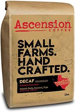 Ascension Decaf Colombian Single Origin Medium Roast Coffee Swiss Water Decaf, Fresh Roasted Whole Bean Coffee 12 oz Bag