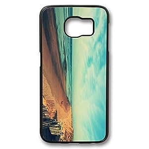 Brian114 Samsung Galaxy S6 Case, S6 Case - Perfect Fit Black Hard Back Case Cover for Samsung Galaxy S6 Beautiful Beach Under Blue Sky Edge Case Impact Protection for Samsung Galaxy S6