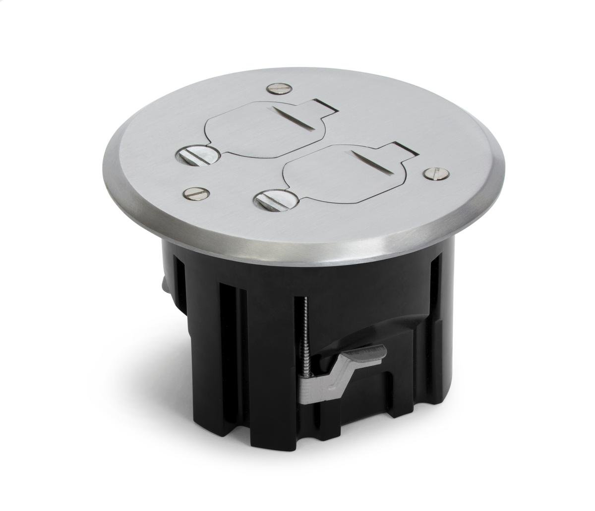 Lew Electric Round Floor Box Kit w/PBR-FPA Cover & 15 AMP (TR) Receptacles - Aluminum