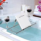Popamazing Extendable Over Bath Tub Racks with Wine/Book/Candle Holder Tray Bathroom Accessories