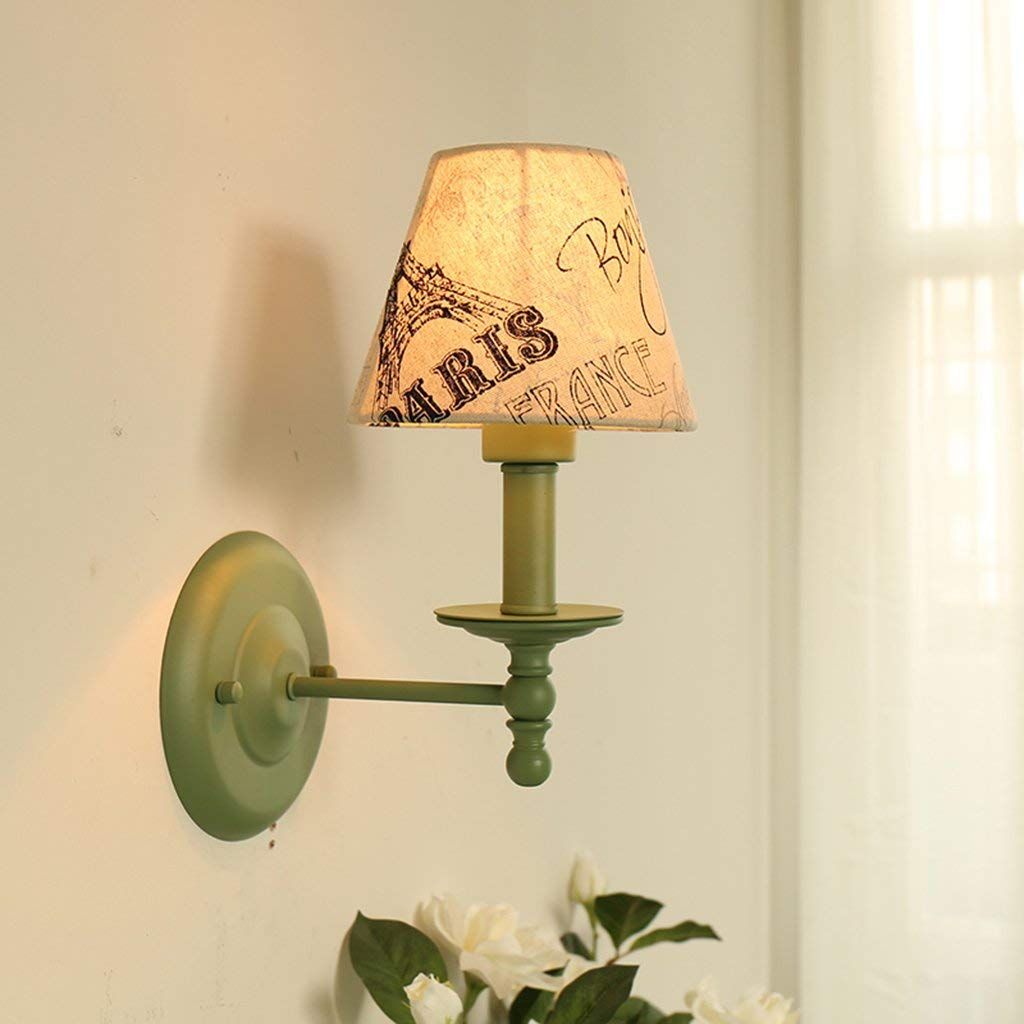 Wandleuchten Wandleuchte E27 Schlafzimmer Wand Lampe rustikale Wandleuchte Schlafzimmer Bett Wandleuchte LED-Mix und Match Stoff Mediterran Wandleuchte (Farbe  A)