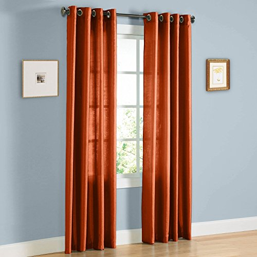 LuxuryDiscounts 2 Piece Solid Brick Faux Silk Grommet Window Curtain Treatment Panel Drapes 55
