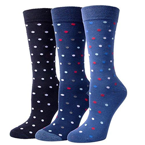 3 Pairs Mens Soft Casual Cotton Crew Socks, Comfortable Dress Socks (Sock Rib Dress Classic)