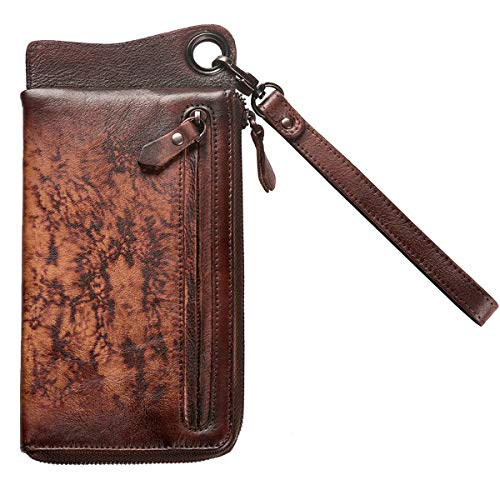 Red Leather ZLYC Handmade Wallet with Clutch Holder Dip Fire Long Vintage Detachable Wristlet dye Card qwZOTw