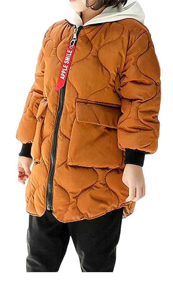 Cromoncent Girls Thicken Quilted Baseball Pocket Fashion Curved Hem Jacket Parka Coat