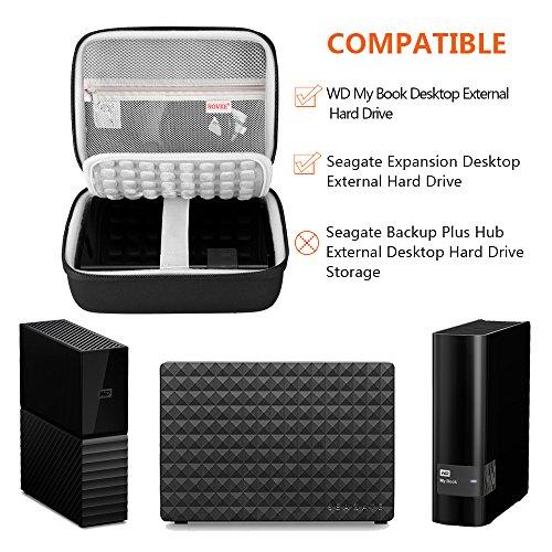 BOVKE Protective Case for Seagate Expansion Desktop,Western Digital WD My Book/Elements Desktop External Hard Drive USB 3.0,2TB 3TB 4TB 5TB 6TB 8TB Carrying Case Storage Travel Bag, Black by BOVKE (Image #4)
