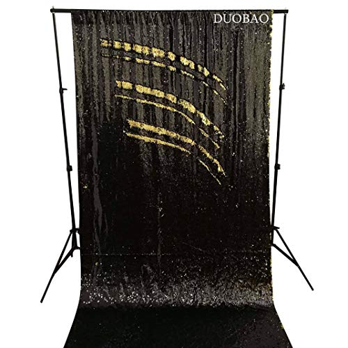 DUOBAO Sequin Backdrop Curtains 2 Panels 4FTx8FT Reversible Sequin Curtains Black to Gold Mermaid Sequin Curtain for Wedding Backdrop Party Photography Background by DUOBAO (Image #6)