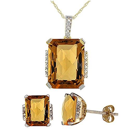 Or jaune 9Ct naturel octogone à whisky Quartz Boucles d'oreilles et pendentif Set Accents de diamant