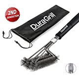 "BBQ Grill Brush by DuraGrill™ - 18"" - 3 Stainless Steel Brushes in 1 - Perfect for Char-Broil, Weber, Porcelain and Infrared Grills"