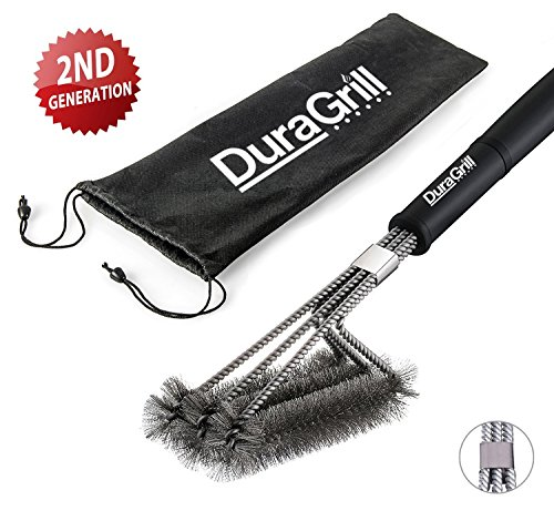 """BBQ Grill Brush by DuraGrill™ - 18"""" - 3 Stainless Steel Brushes in 1 - Perfect for Char-Broil, Weber, Porcelain and Infrared Grills"""