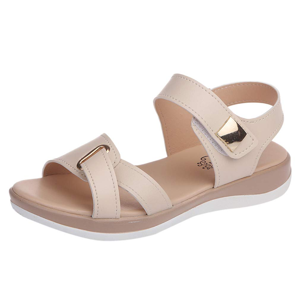 Sanyyanlsy Woman Cross Hook and Loop Strap Wedge Sandals Ladies's Soft Buttom Shoes for Pregant Women Elderly People Beige by Sanyyanlsy
