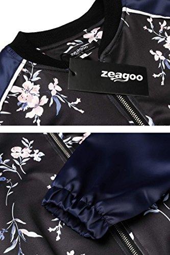 Zeagoo Chaqueta Mujer de Estilo Bomber con Cremallera de Moda Multicolor S-XL Azul