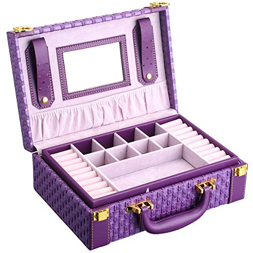 goldwheat Two-Layer Woven Leather Jewelry Box Travel Organizer Display Storage Case Gift for Women Girls with Portable Handle (Purple) from goldwheat