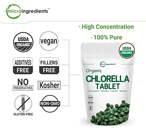 Organic Chlorella, 3000mg Per Serving, 720 Tablets, Best Superfoods for Rich Minerals, Vitamins, Chlorophyll, Amino Acids, Fatty Acids, Fiber & Proteins, Non-GMO & Vegan Friendly by Micro Ingredients (Image #3)