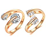 Womens Dainty Adjustable Cubic Zirconia Rings - Sparkling Round Square CZ Minimalist Wrap Open Ring Gold Filled 2Pcs (8 Styles Available)