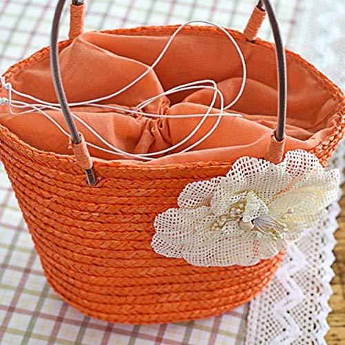 borse borsa spalla donne shopping da piccola donna spiaggia Orange intrecciata da spiaggia borsa borse da donna paglia fiore OneMoreT spiaggia estate per casual SYxHII