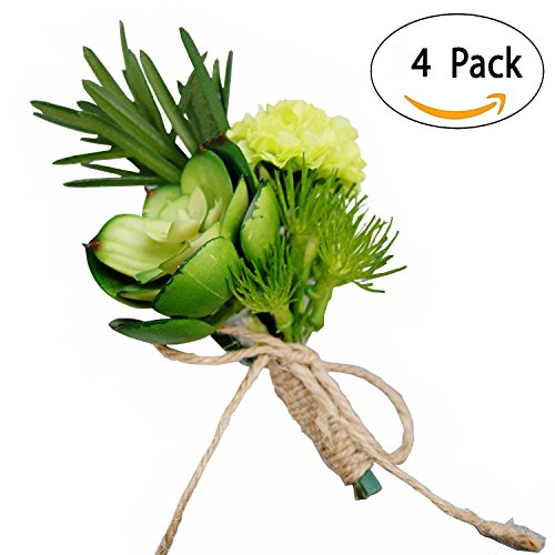 Handmade Artificial Succulent Corsage Wristlet Realistic Cute Green Plants Boutonniere For Wedding Decor 4 Pcs