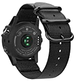 Cheap Fintie Band for Garmin Fenix 3 HR Watch, Premium Woven Nylon Bands Adjustable Replacement Strap for Fenix 5X/5X Plus/3/3 HR/Descent Mk1 Smartwatch – Black