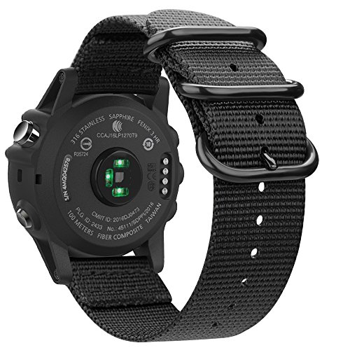 Fintie Band for Garmin Fenix 5X Plus/Fenix 3 HR Watch, 26mm Premium Woven Nylon Bands Adjustable Replacement Strap for Fenix 5X/5X Plus/3/3 HR Smartwatch - Black
