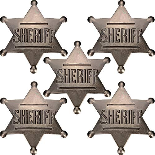 Old West Sheriff (5 Pieces Deputy Badge Metal Sheriff Badge Old West Cowboy Costume Prop Badge Black Sliver Halloween Badge Party)