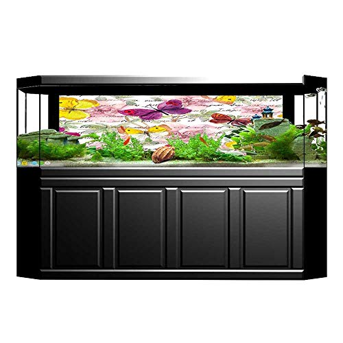 JiahongPan Background Fish Tank Decorations and Text Camellia Letters Romantic Aged Calligraphy Classics Fish Tank Backdrop Static Cling Wallpaper Sticker L29.5 x H17.7