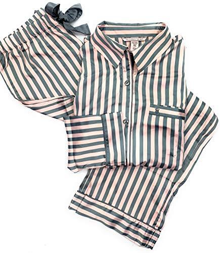 - Victoria's Secret Women's 2 Piece Satin Afterhours PJ Pajama Pants Set Sheer Pink/Grey Large