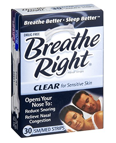 BREATHE RIGHT NASAL STRIPS,CLEAR,SM/MED, 30 CT ()