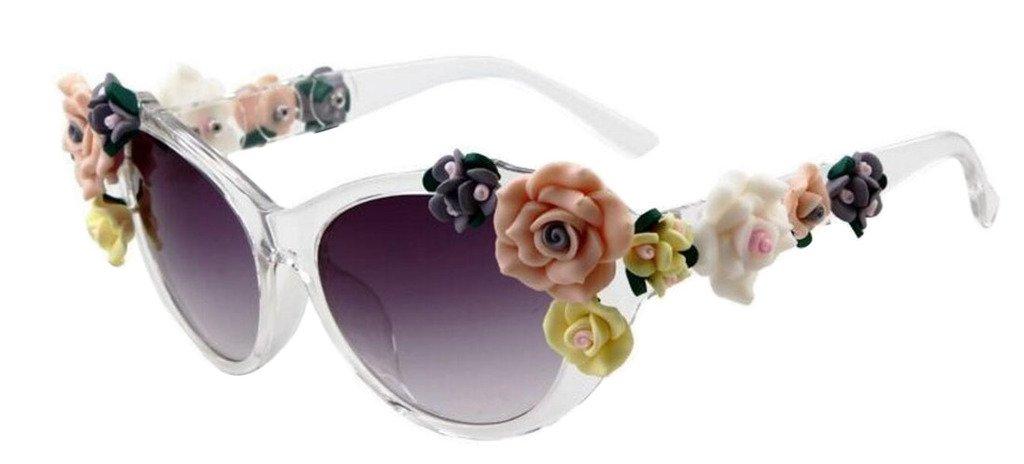 JYR Women Fashion Flower decoration Lunettes de soleil Charmming Beach Shades Lady Lunettes de soleil - Purple White AhsW00DU