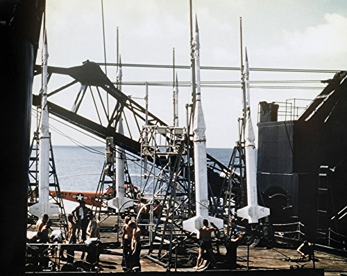 US Navy Rockets 1958 Nnike-Asp Rockets On The Deck Of The Uss Point Defiance In Preparation For Launch Photograph 1958 Poster Print by (18 x 24)