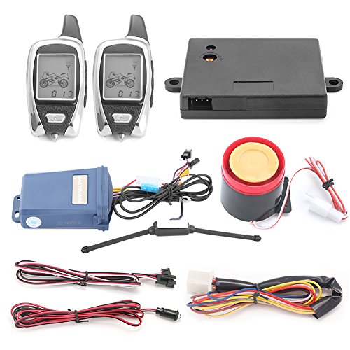 EASYGUARD EM209 2 Way Motorcycle Alarm System Remote Engine Start Starter Microwave Sensor Colorful LCD Pager Display Shock Sensor Proximity Sensor Included Universal Version DC12V by EASYGUARD