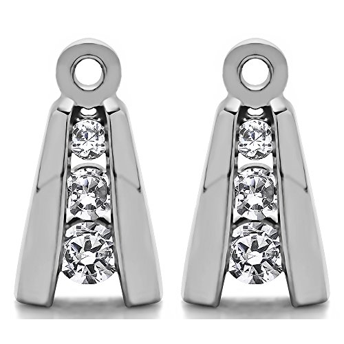1/5 ct. White Sapphire Three Stone Earring Jackets in Sterling Silver (0.2 ct. twt.) by TwoBirch