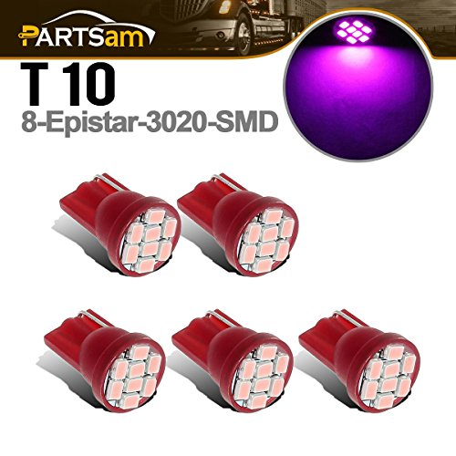 Partsam 5x Cab Roof Running Marker Light Turn Tail Lamp Dome Light License Plate Light 168 194 T10 8-Epistar-3020-SMD Pink-purple LED Bulbs