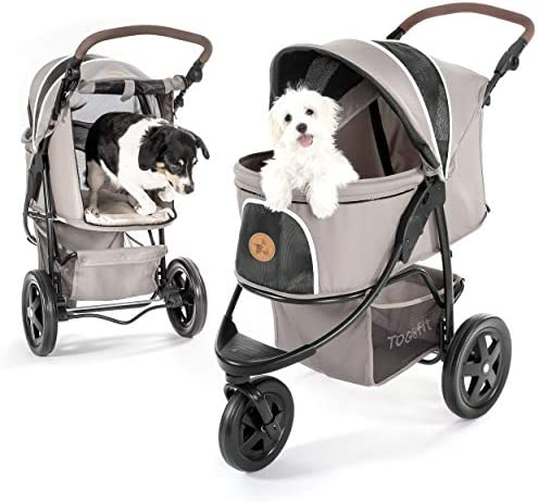 Hauck TOGfit Pet Roadster – Luxury Pet Stroller for Puppy, Senior Dog or Cat Easy Foldable Three Wheels Travel Pet Jogger max. Loading 70 lb, Mattress Included – Gray