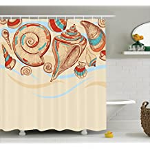 Ambesonne Seashells Decor Collection, Pastel Colored Macro Seashells Picked from Beach Drifts Coral Marine Mollusk Theme, Polyester Fabric Bathroom Shower Curtain Set with Hooks, Cream Red Teal