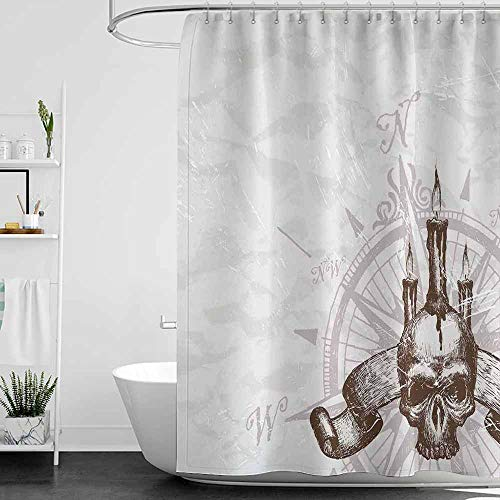 SKDSArts Shower Curtains Teen Boys Compass,Compass with Skull and Candles Spooky Adventure New Pirate Destinations Theme,Brown Pearl Grey,W72 x L72,Shower Curtain for Small Shower stall