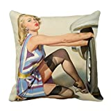 New Tire Pin Up Girl Throw Pillow Case