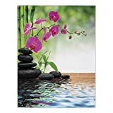 iPrint Satin Rectangular Tablecloth [ Spa Decor,Composition Bamboo Tree Floor Mat Orchid Stones Wellbeing Greenery, Dining Room Kitchen Table Cloth Cover