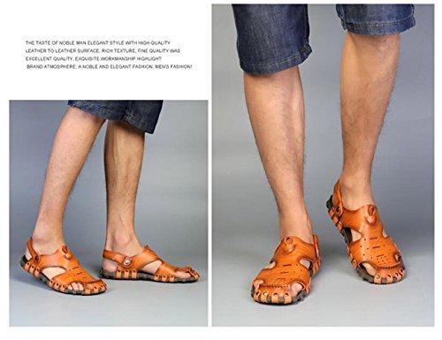 Beauqueen Zapatillas de playa de doble uso del verano del hombre Soft suelos al aire libre pantuflas sandalias Cloesd-Toe Casual antideslizante deportes zapatos casuales UE tamaño 38-44 yellow brown