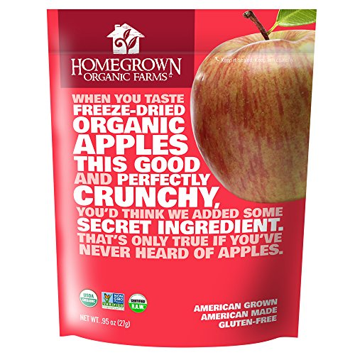 Freeze Dried Apple Snacks by Homegrown Organic Farms - Organic Non-GMO Freeze-Dried Apple Chips - All-Natural Vegan Freeze Dried Fruit (Apple .95oz)