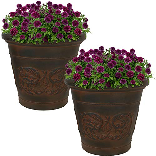 Sunnydaze Arabella Flower Pot Planter, Outdoor/Indoor Extra-Durable Double-Walled Polyresin with UV-Resistant Rust Finish, Set of 2, 16-Inch Diameter