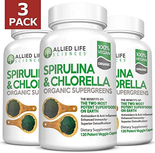 Allied Life Spirulina and Chlorella | Organic Chlorophyll Vegan Protein Powder Green Superfood Capsules | Natural Anti Aging Detox Cleanse (3 Pack)