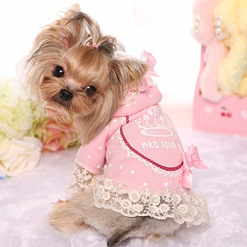 [ZPP-Teddy pet dog cat pet costumes wearing Crown lace shirt dress,Pink,L] (Halloween Costume Wearing Overalls)