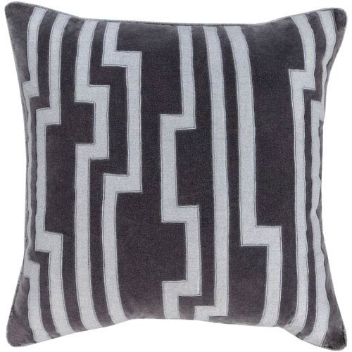 SURYA Velocity Black and Gray 18-Inch Pillow Cover