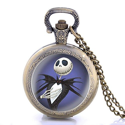 Hunter Quartz Pocket Watch (Nightmare Before Christmas Antique Full Hunter Vintage Pocket Watch Necklace Quartz Pendant Chain Gift)